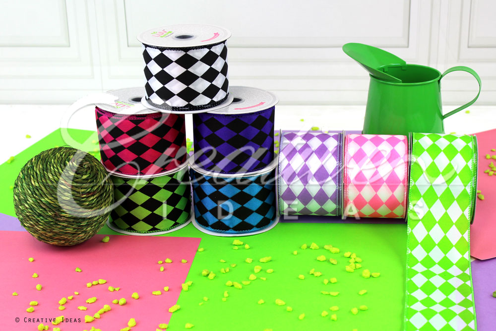 Diamond Harlequin Print Ribbons-10 Yards