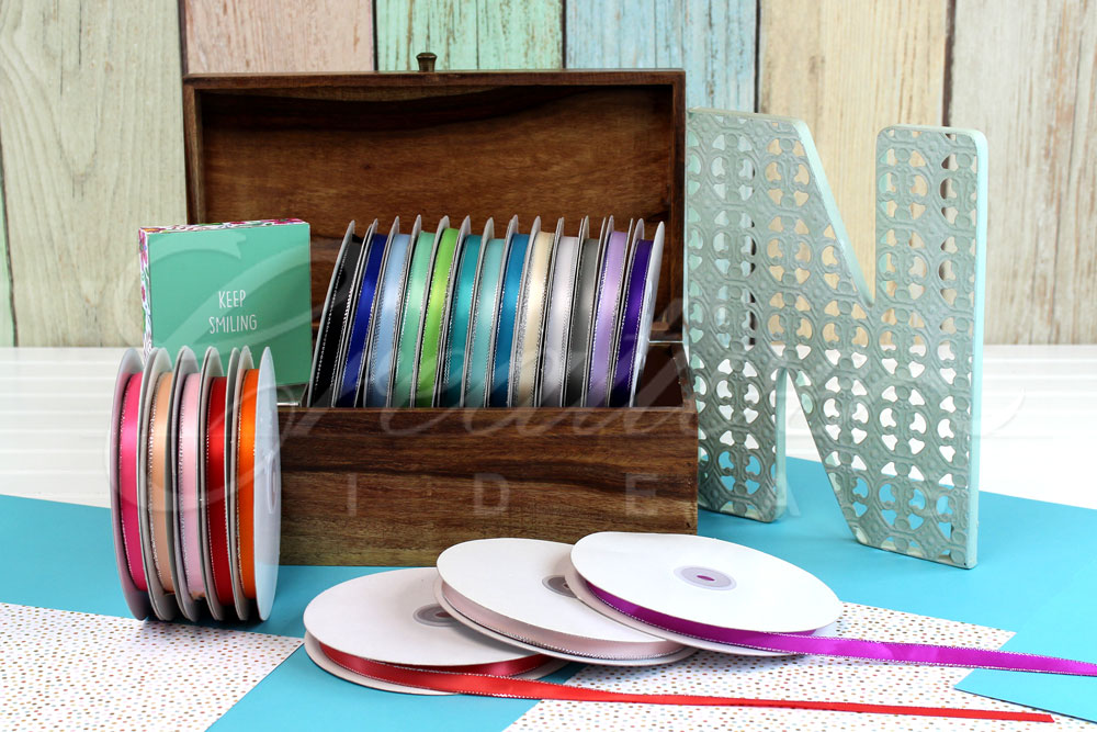 """3/8"""" Double Face Satin with Silver Edge Ribbons-50 Yards"""