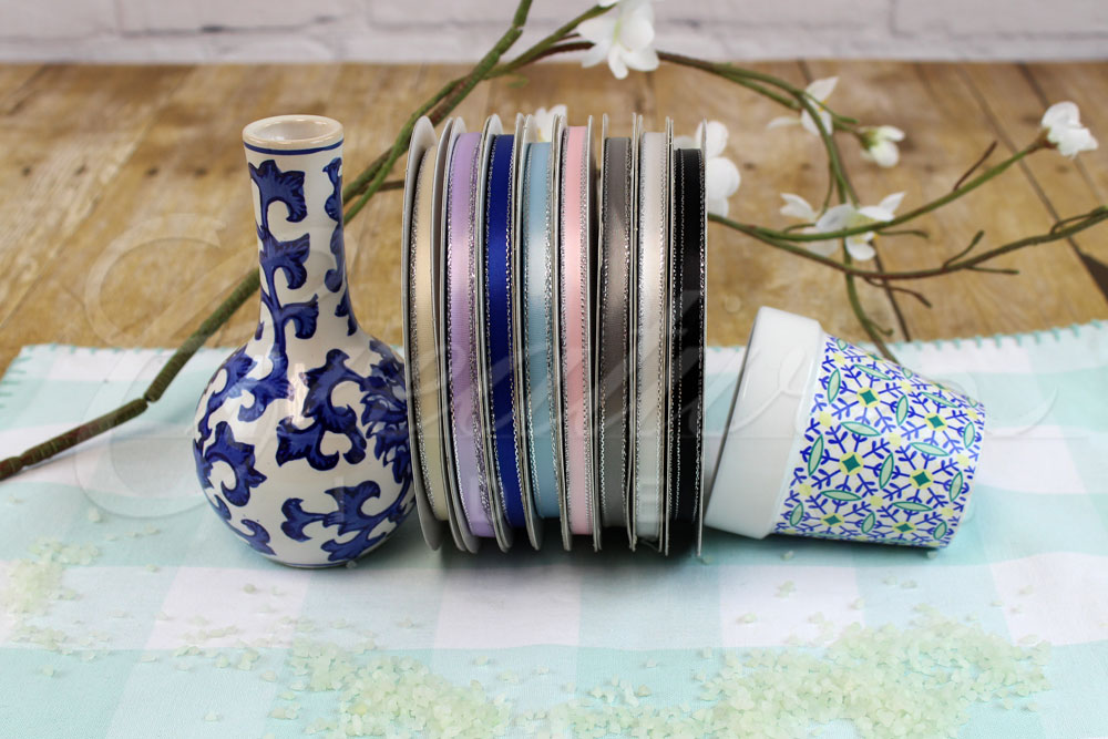 """1/4"""" Double Face Satin with Silver Edge Ribbons-50 Yards"""