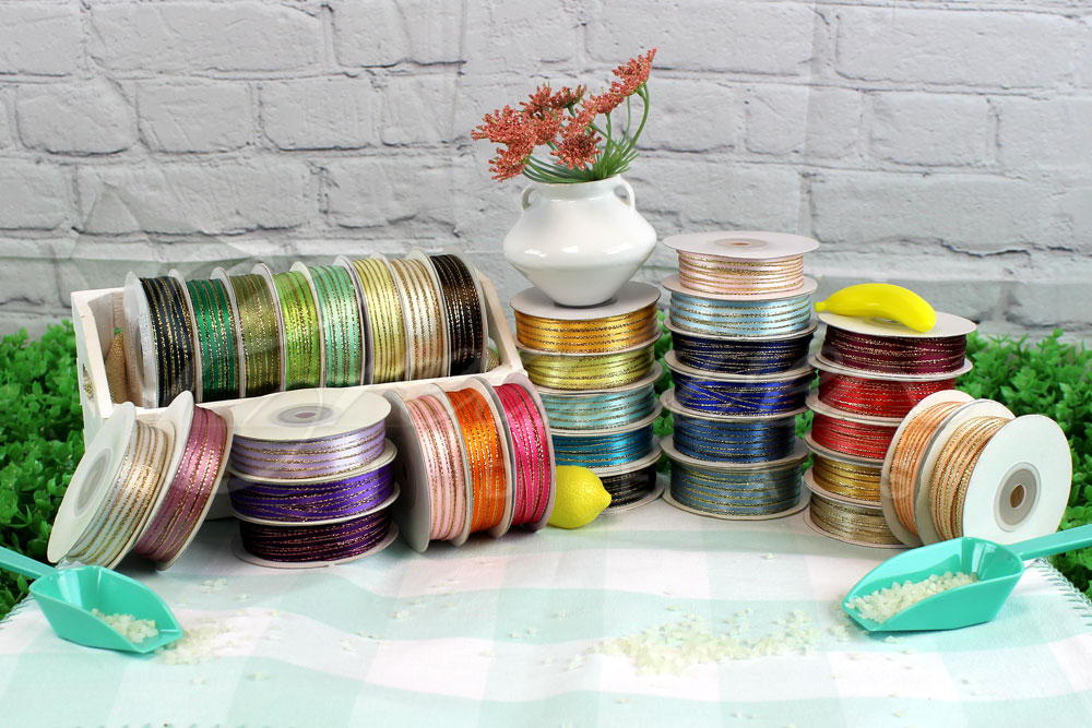"""1/8"""" Double Face Satin with Gold Edge Ribbons-50 Yards"""