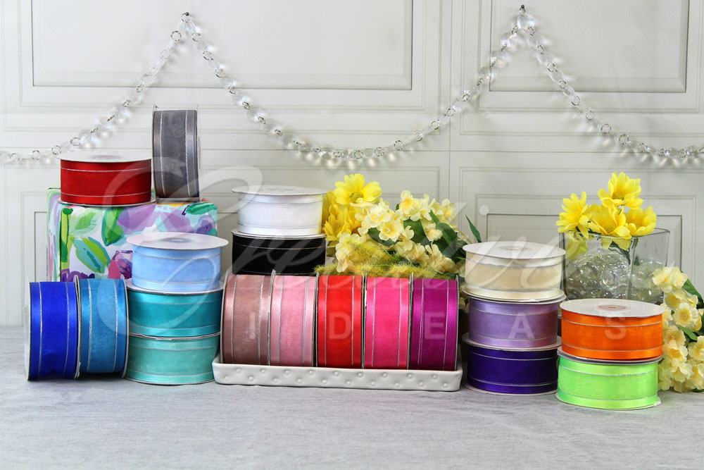 "1 1/2"" Organza with Satin & Silver Edge Ribbons-25 Yards"