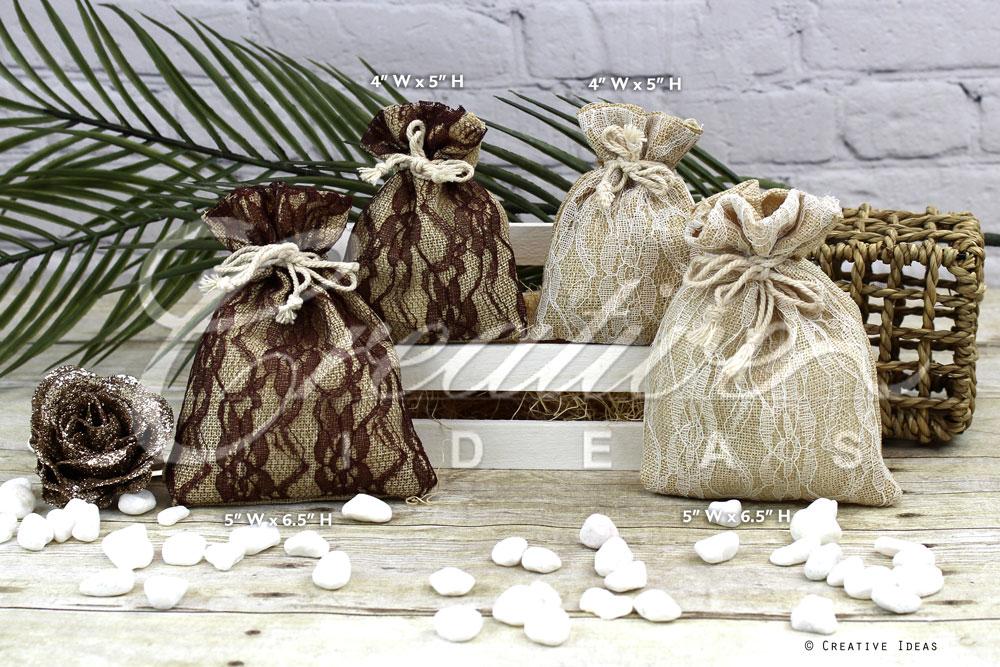Faux Burlap Lace Pouch-Sold by a Dozen Pieces