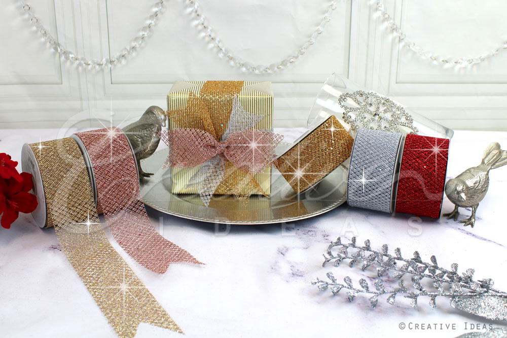 Glittery Criss Cross Mesh Ribbons