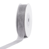"""5/8"""" Plain Organza Sheer Ribbons - 25 Yards (Silver)"""