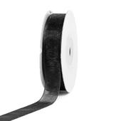 """5/8"""" Plain Organza Sheer Ribbons - 25 Yards (Black)"""