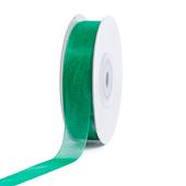 """5/8"""" Plain Organza Sheer Ribbons - 25 Yards (Emerald Green)"""