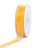 """5/8"""" Plain Organza Sheer Ribbons - 25 Yards (Light Gold)"""
