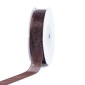 """5/8"""" Plain Organza Sheer Ribbons - 25 Yards (Brown)"""