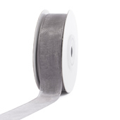"7/8"" Plain Organza Sheer Ribbons - 25 Yards (Silver)"