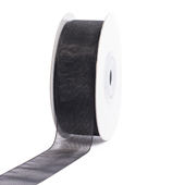 "7/8"" Plain Organza Sheer Ribbons - 25 Yards (Black)"