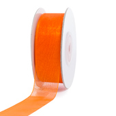 "7/8"" Plain Organza Sheer Ribbons - 25 Yards (Orange)"