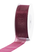 "7/8"" Plain Organza Sheer Ribbons - 25 Yards (Wine)"