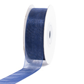 "7/8"" Plain Organza Sheer Ribbons - 25 Yards (Navy Blue)"