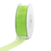 "7/8"" Plain Organza Sheer Ribbons - 25 Yards (Apple Green)"
