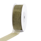 "7/8"" Plain Organza Sheer Ribbons - 25 Yards (Moss Green)"