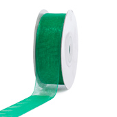 "7/8"" Plain Organza Sheer Ribbons - 25 Yards (Emerald Green)"