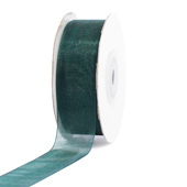 "7/8"" Plain Organza Sheer Ribbons - 25 Yards (Hunter Green)"