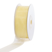 "7/8"" Plain Organza Sheer Ribbons - 25 Yards (Baby Maize)"