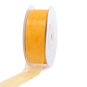 "7/8"" Plain Organza Sheer Ribbons - 25 Yards (Light Gold)"