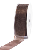 "7/8"" Plain Organza Sheer Ribbons - 25 Yards (Brown)"