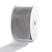 """1 1/2"""" Plain Organza Sheer Ribbons - 25 Yards (Silver)"""