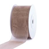 """1 1/2"""" Plain Organza Sheer Ribbons - 25 Yards (Toffee)"""
