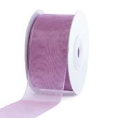 """1 1/2"""" Plain Organza Sheer Ribbons - 25 Yards (Rosy Mauve)"""