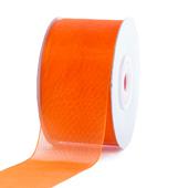 "1 1/2"" Plain Organza Sheer Ribbons - 25 Yards (Orange)"