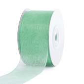 """1 1/2"""" Plain Organza Sheer Ribbons - 25 Yards (Mint Green)"""