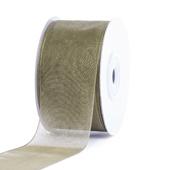 """1 1/2"""" Plain Organza Sheer Ribbons - 25 Yards (Moss Green)"""