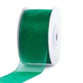 """1 1/2"""" Plain Organza Sheer Ribbons - 25 Yards (Emerald Green)"""