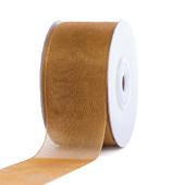 """1 1/2"""" Plain Organza Sheer Ribbons - 25 Yards (Antique Gold)"""