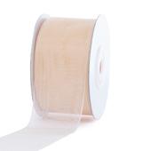 """1 1/2"""" Plain Organza Sheer Ribbons - 25 Yards (Ivory)"""