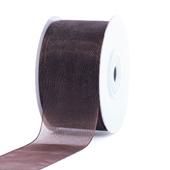 """1 1/2"""" Plain Organza Sheer Ribbons - 25 Yards (Brown)"""