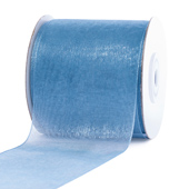 "2 3/4""Plain Organza Sheer Ribbons - 25 Yards (Antique Blue)"