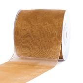 """2 3/4""""Plain Organza Sheer Ribbons - 25 Yards (Antique Gold)"""