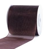 """2 3/4""""Plain Organza Sheer Ribbons - 25 Yards (Brown)"""