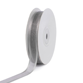 "5/8"" Organza with Satin Edge Ribbon - 25 Yards (Silver)"