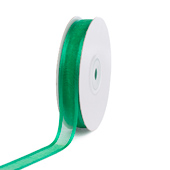 "5/8"" Organza with Satin Edge Ribbon - 25 Yards (Emerald Green)"
