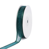 "5/8"" Organza with Satin Edge Ribbon - 25 Yards (Hunter Green)"