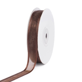 "5/8"" Organza with Satin Edge Ribbon - 25 Yards (Brown)"
