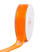 "7/8"" Organza with Satin Edge Ribbon - 25 Yards (Orange)"