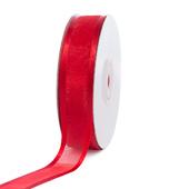 "7/8"" Organza with Satin Edge Ribbon - 25 Yards (Red)"