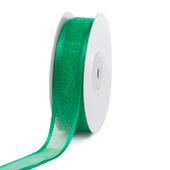 "7/8"" Organza with Satin Edge Ribbon - 25 Yards (Emerald Green)"