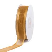 "7/8"" Organza with Satin Edge Ribbon - 25 Yards (Antique Gold)"