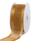 "1 1/2"" Organza with Satin Edge Ribbon - 25 Yards (Antique Gold)"
