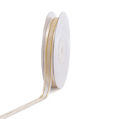 """3/8"""" Organza with Satin And Gold Edge Ribbon - 25 Yards (Antique White)"""