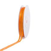 "3/8"" Organza with Satin And Gold Edge Ribbon - 25 Yards (Orange)"