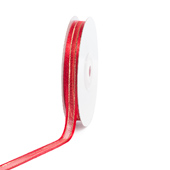 """3/8"""" Organza with Satin And Gold Edge Ribbon - 25 Yards (Red)"""