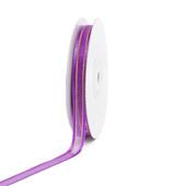 "3/8"" Organza with Satin And Gold Edge Ribbon - 25 Yards (Purple)"